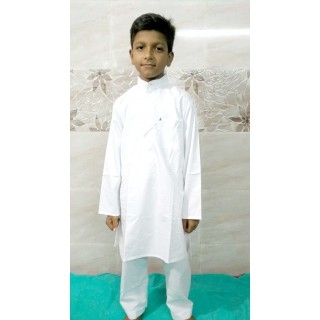 Kids Kurta Pyjama Set - White