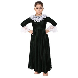 Premium Velvet Dress for Kids- Green