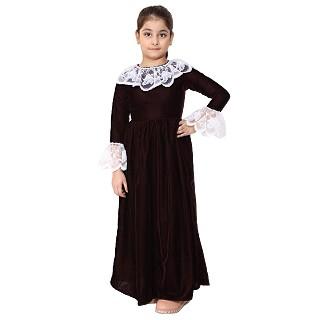 Premium Velvet Dress for Kids- Maroon