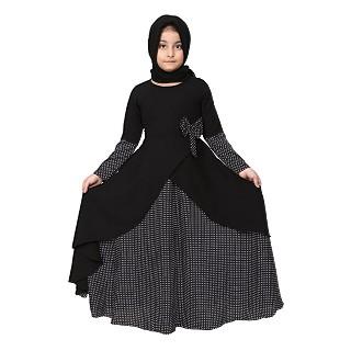 Polka dotted asymmetrical dress for kids- Black