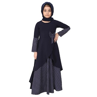 Polka dotted asymmetrical dress for kids- Navy Blue