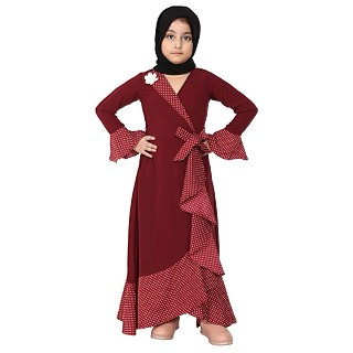 Designer abaya with Polka dotted frills for kids- Maroon