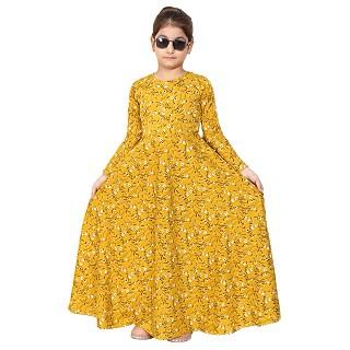 Mustard printed Umbrella Dress abaya for kids