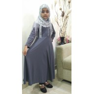 Girls Abaya - Dolphin colored kid naqab in Lycra fabric
