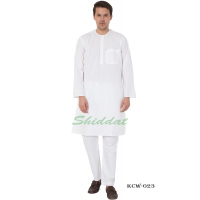 Round Neck White Kurta Pyjama set-  Cotton fabric