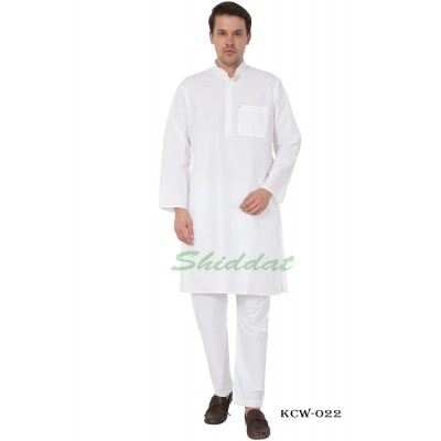 Solid  White Kurta Pyjama set-  Cotton fabric