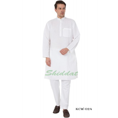 White Kurta Pyjama set-  Linen fabric
