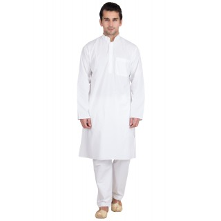 Kurta Pyjama set- Solid white in cotton fabric