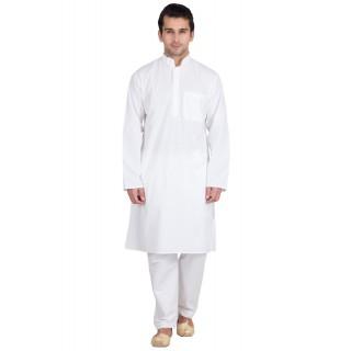 Kurta Pyjama set- Solid white in cotton fabric