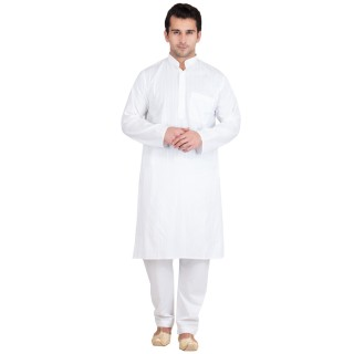 Kurta Pyjama set- White stripped in cotton fabric