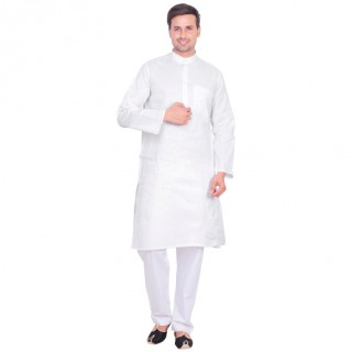 Kurta Pyjama set- Khadi white in cotton fabric
