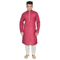 Kurta Pajama set- Maroon & Cream