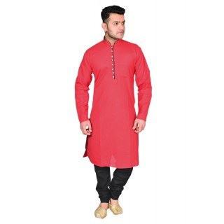 Kurta Pajama set - Red & Black
