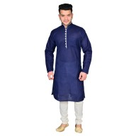 Kurta Pajama set - Navy Blue & White