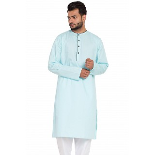 Designer kurta with round neck- Sky Blue