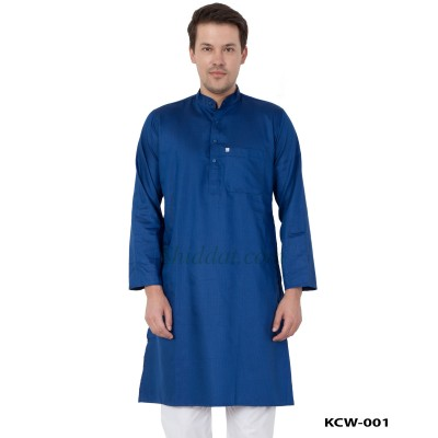 Men's Kurta- Midnight Blue in Dobby Cotton