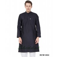 Men's Kurta- Black in Dobby Cotton