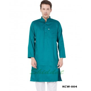 Cotton Dobby Printed Slim Fit Long Kurta- Persian Green