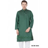Slim Fit Long Kurta in Dobby Cotton printed - Ocean Green