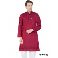 Men's Kurta- Mexican Red in Dobby Printed Cotton