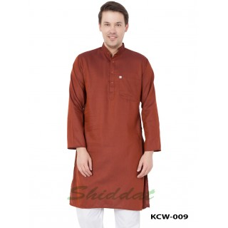 Cotton Printed Slim Fit Long Kurta - Persian Red