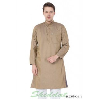 Slim Fit Long Kurta -  Indian Khaki Color in Dobby Cotton