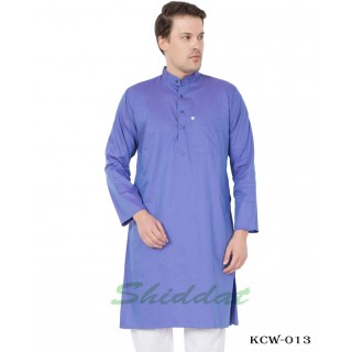 Men's Kurta-  Moody Blue color in Dobby Cotton