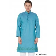 Men's Kurta-  Fountain Blue color in Dobby Cotton
