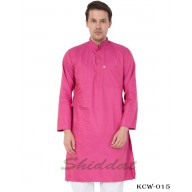 Slim Fit Long Kurta in Cotton Dobby Printed - Persian Pink