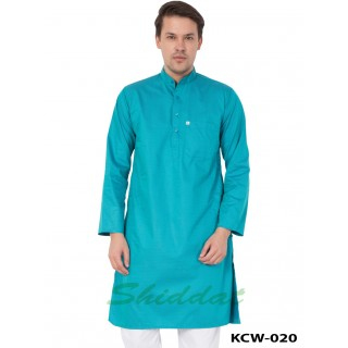 Men's Kurta - Turquoise blue color in Cotton dobby Print