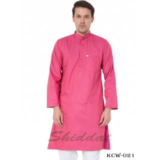 Slim Fit Long Kurta in Dobby Cotton printed - Cranberry color