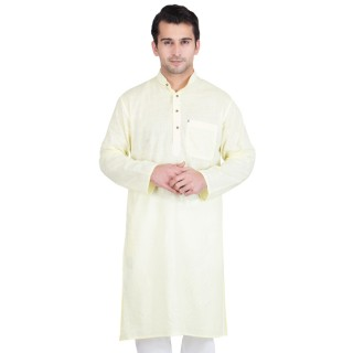 Green-White Colored Kurta- Cotton Fabric