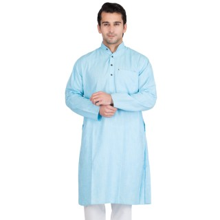 Tropical Blue Colored Kurta for men- Cotton Fabric