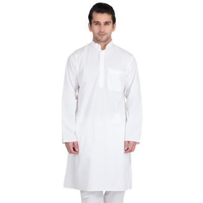 Solid white Kurta- Cotton Fabric