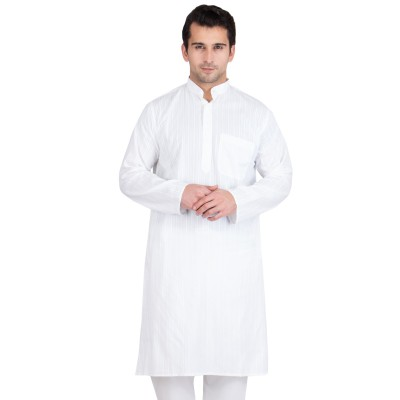 Solid White Colored Lining Kurta- Cotton Fabric