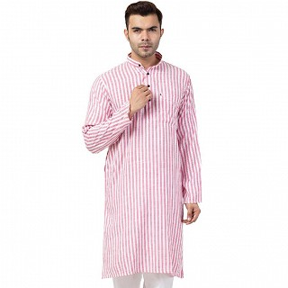 Striped Cotton Kurta for Men- Pink-White