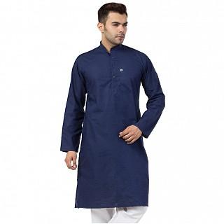 Cotton Kurta for Men- Navy Blue