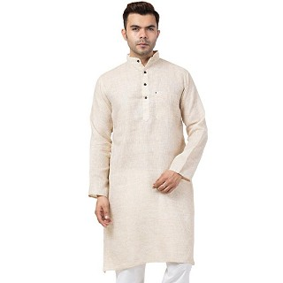 Casual Cotton Kurta for Men- Cream Color