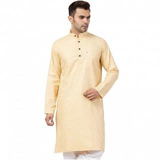 Cotton Kurta for Men- Light Yellow