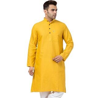 Striped Cotton Kurta for Men- Yellow