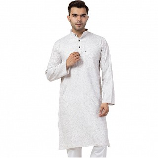 Cotton Kurta for Men- White-Grey