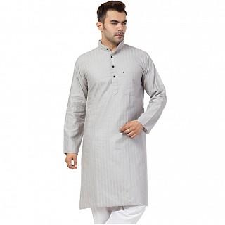 Striped Cotton Kurta for Men- Grey