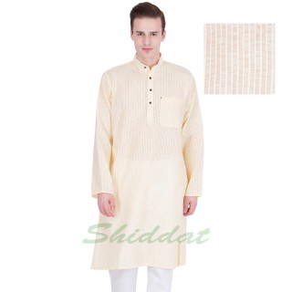 Woven long kurta - Spring Wood colored in cotton fabric