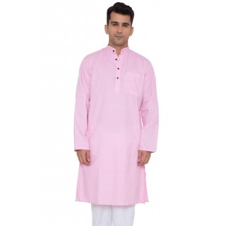 Khadi Cotton Kurta- Pink