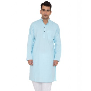 Khadi Cotton Kurta- Sky Blue