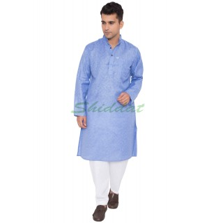 Khadi Cotton Kurta- Blue