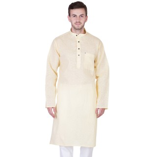 Khadi Cotton Kurta-Cream