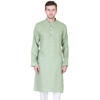 Khadi Cotton Kurta-Pixie Green