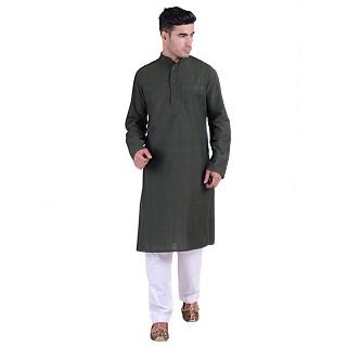 Long Kurta - Hunter green colored in cotton fabric