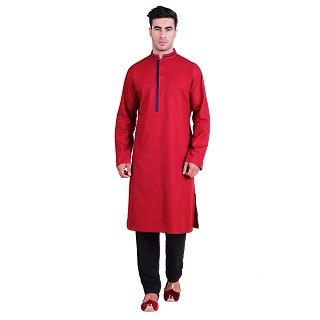 Designer Cotton kurta for men- Red